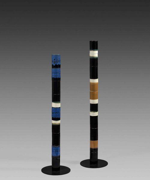 2 totems ceramiques tricolores bleu jaune