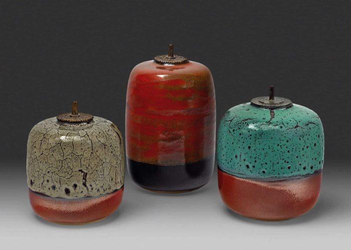 3 boites ceramiques drouot couvercle bronze