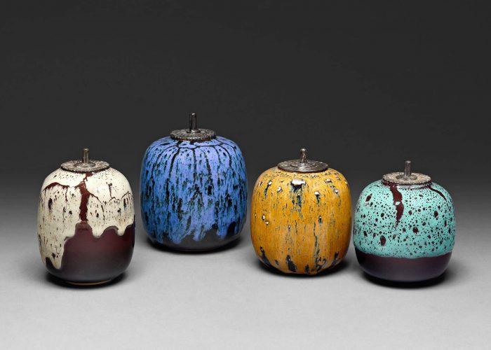 4 boites ceramiques japonaises couvercle bronze