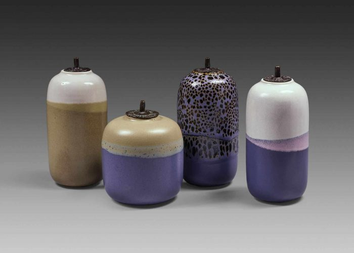 amphores porcelaine couvercle bronze