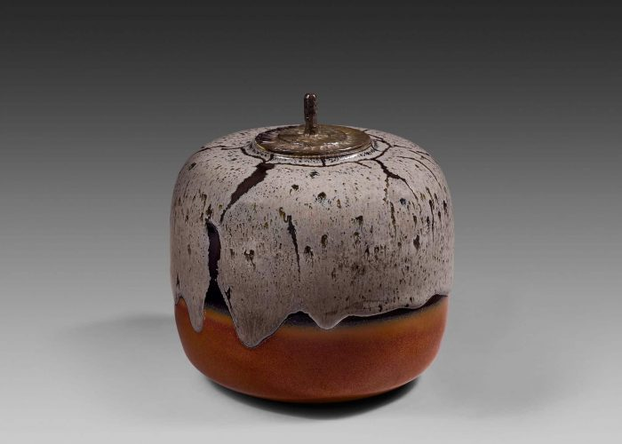 boite ceramique gris rouge couvercle bronze