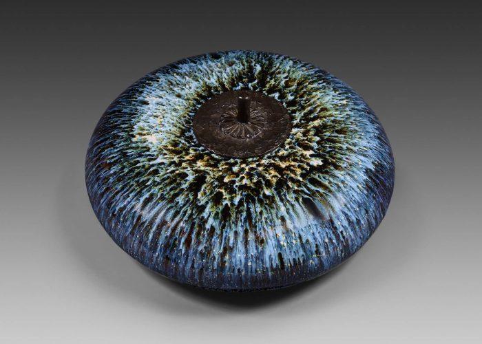 boite galet ceramique orage couvercle bronze