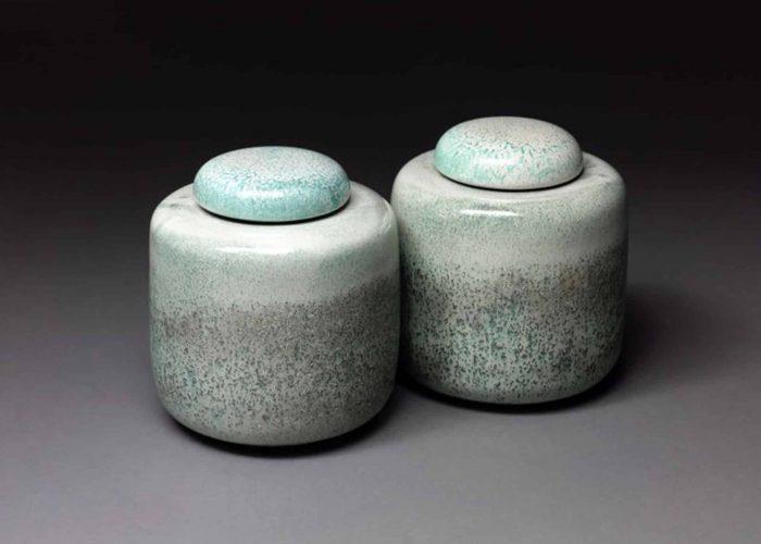 paire boites ceramiques celadon