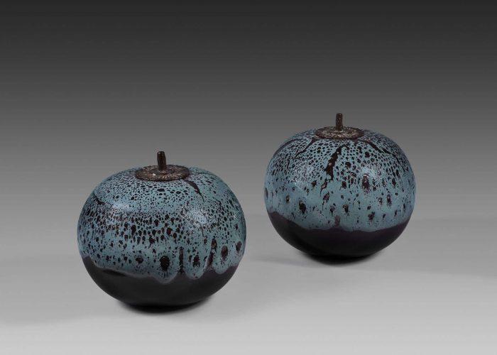 paire boites ceramiques pomme canard couvercle bronze