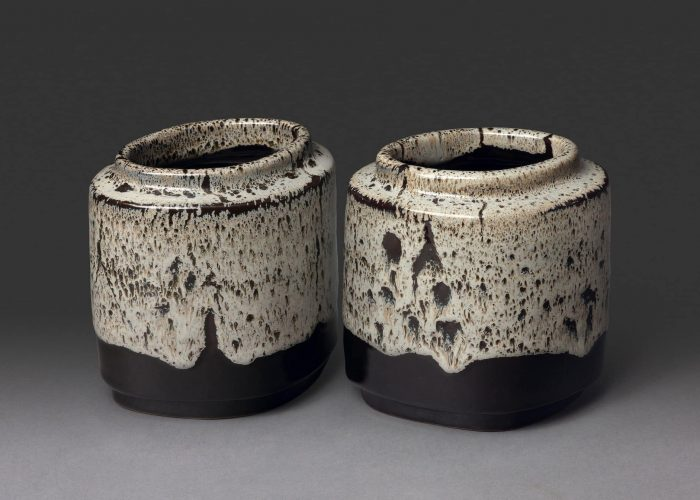 paire vases ceramiques gris